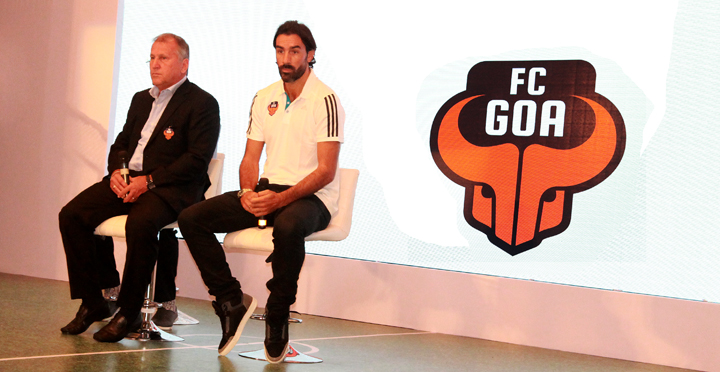 Robert Pires and FC Goa Coach Zico at Press meet at the Palladium Hotel in Mumbai
