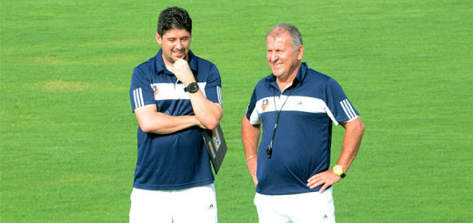 FC Goa assistant coach Arthur Papas along with manager and chief coach Zico during a training session at Tilak Maidan