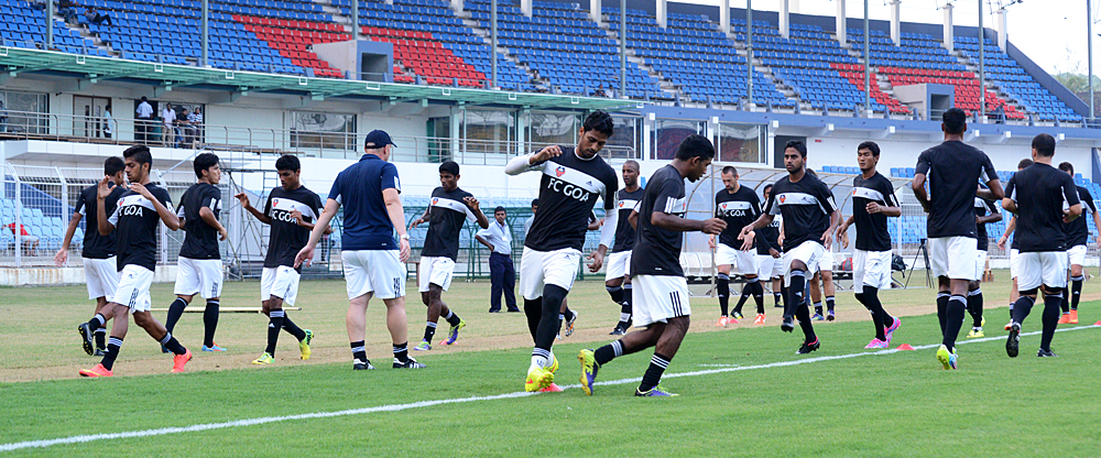 FC Goa players training at Pandit Jawaharlal Nehru Stadium, Fatorda, Goa