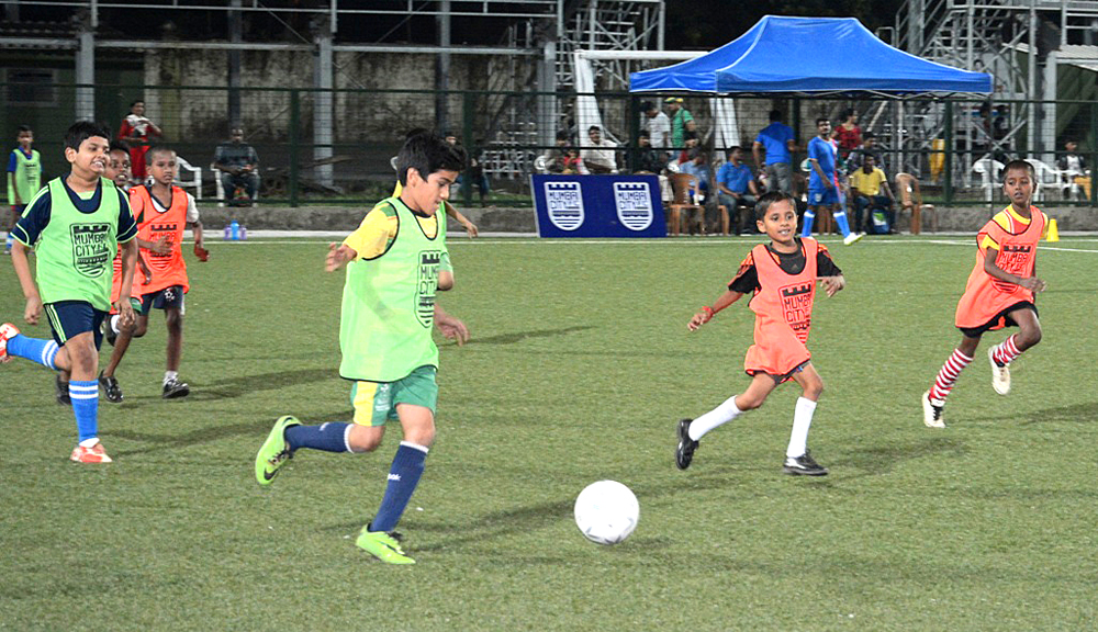 Kids in action at Mumbai City FC's 5th Grassroots Festival at Cooperage Stadium