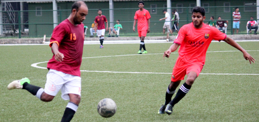 Central Bank's Egypsio Noronha (right) in action against GM Sports