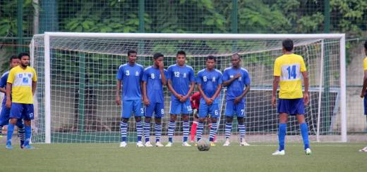 Mumbai FC's Pradneep Mohannraj taking a free kick against Indian Navy