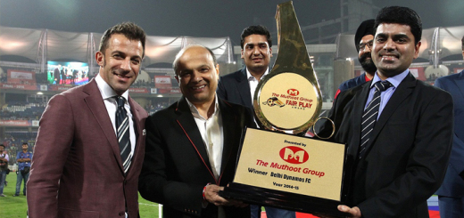 (From L-R) Alessandro Del Piero and Mr Sameer Manchanda receiving the Muthoot Fair Play Award Trophy
