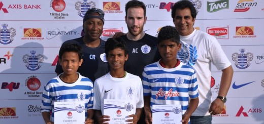 Three youngsters, 12-year-old Sunil Rathod (left) and schoolmate 14-year-old Sunil Rathod, both from Colaba Municipal School and 13-year-old Sitaram Rathod (centre) from Holy Name HS, Colaba, who were selected for an all expense paid three-week coaching to be conducted exclusively by the QPR coaching teams later in April 2015, are seen with Chris Ramsey (left), QPR, Head of Player Development and Academy Manager and assistant Alexander Carroll a coach of the London club along with Sanjiv Saran (right), CEO & Founder of Saran Sports, promoter of the event. 45 kids, who participated in the selection trials, were shortlisted from the Milind Deora-QPR South Mumbai Junior Soccer Challenger 2014, which was conducted last November.