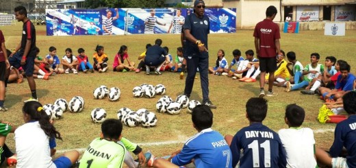 Chris Ramsey (centre), QPR Head of Player Development and Academy Manager, inter-acts and shares his knowledge with kids at the selection trials session, participated by 45 children that were shortlisted during the Milind Deora-QPR South Mumbai Junior Soccer Challenger 2014. Ramsey along with QPR coach Alexander Carroll, are in the city to select two children for a coaching clinic that will be conducted exclusively by the Queens Park Rangers (QPR) coaching teams in UK, later in April 2015.
