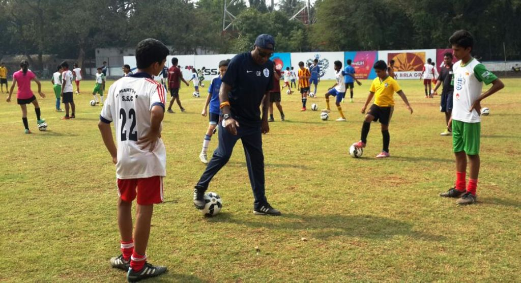 Chris Ramsey, QPR Head of Player Development and Academy Manager, is seen teaching football skills to youngsters at the selection trials session, participated by 45 children that were shortlisted during the Milind Deora-QPR South Mumbai Junior Soccer Challenger 2014. Ramsey along with QPR coach Alexander Carroll, are in the city to select two children for a coaching clinic that will be conducted exclusively by the Queens Park Rangers (QPR) coaching teams in UK, later in April 2015.