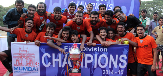 Jubilant Mumbai Strikers sports club after winning the MDFA league 1st division title.