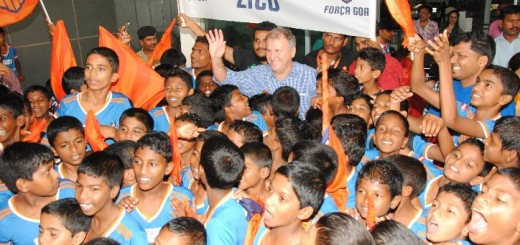 Arthur Antunes Coimbra (Zico) Manager and Chief Coach, FC Goa arrives to a warm welcome in Goa.