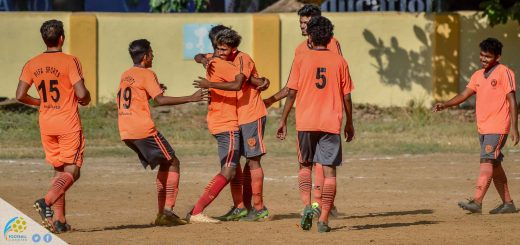 Pifa Colaba Under 19 are celebrating Deep Wagh's goal turned out to be winner