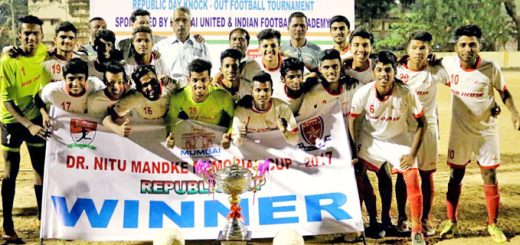 The champs Air India Under-19 players pose with the winner's trophy alsong with Chief Guest, Jaya Shetty (centre), a former Indian kabaddi player and Hon. Secretary of Karnatak SA and MDFA Executive Managing Committee members at the prize distribution function of the MDFA organised Dr. Nitu Mandke Memorial Trophy 'Republic Day' football tournament 2017, and played at the St. Xavier's ground, Parel.
