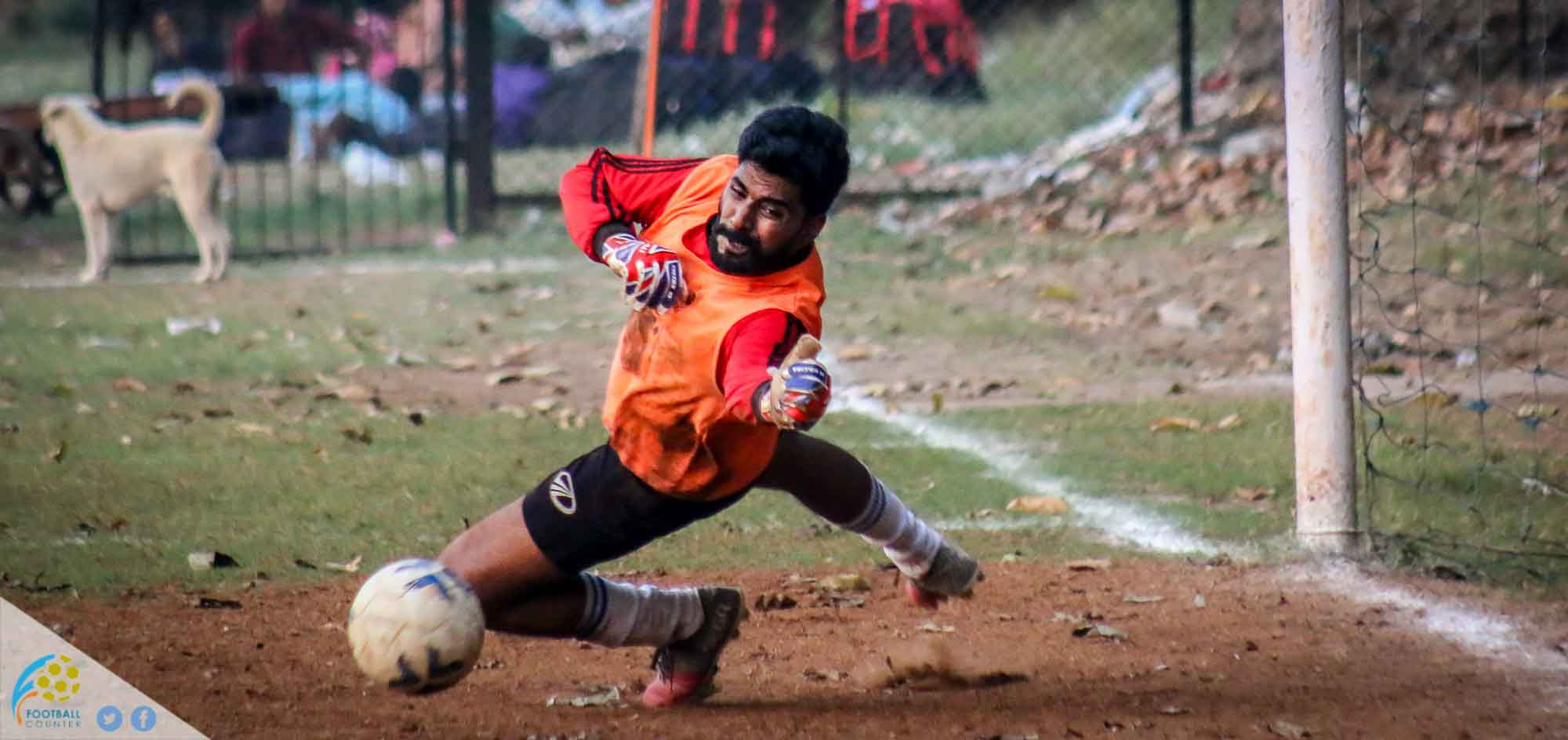 Udaya S.C's Goalkeeper Kartik Putran in action
