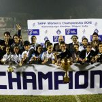 Indian Women's team with the SAFF Women's Championship 2016 trophy