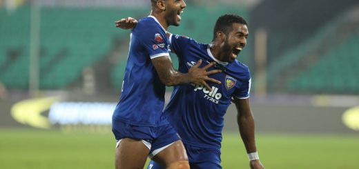 Raphael Augusto of Chennaiyin FC hit for goal during match 6 of the Hero Indian Super League between Chennaiyin FC and NorthEast United FC held at the Jawaharlal Nehru Stadium, Chennai India on the 23rd November 2017 Photo by: Arjun Singh / ISL / SPORTZPICS