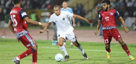 Danilo LOPES CEZARIO of Northeast United FC during match 2 of the Hero Indian Super League between NorthEast United FC and Jamshedpur FC held at the Indira Gandhi Athletic Stadium, Guwahati India on the 18th November 2017 Photo by: Arjun Singh / ISL / SPORTZPICS