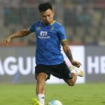 Jackichand Singh of Kerala Blasters FC practise before the start of the match 20 of the Hero Indian Super League between FC Goa and Kerala Blasters FC held at the Jawaharlal Nehru Stadium, Goa, India on the 9th December 2017 Photo by: Vipin Pawar / ISL / SPORTZPICS