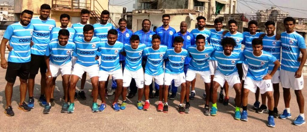 The Maharashtra team, along with coach Augusto D'Silva, manager Sudhakar Rane and support staff on their arrival in Ahmedabad to participate in the qualifying round of the AIFF 72nd National Football Championship for the Santosh Trophy.