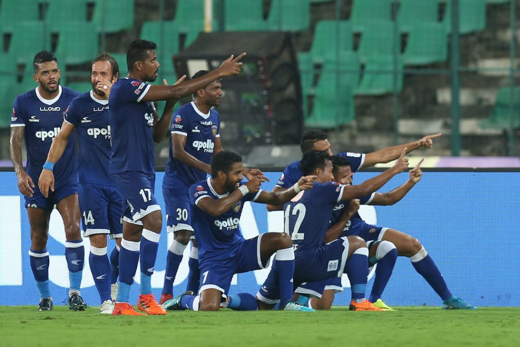 Jeje Lalpekhlua of Chennaiyin FC celebrates the goal with team players during the second semi final 2nd leg of the Hero Indian Super League between Chennaiyin FC and FC Goa held at the Jawaharlal Nehru Stadium, Chennai, India on the 13th March 2018<br /> Photo by: Deepak Malik / ISL / SPORTZPICS